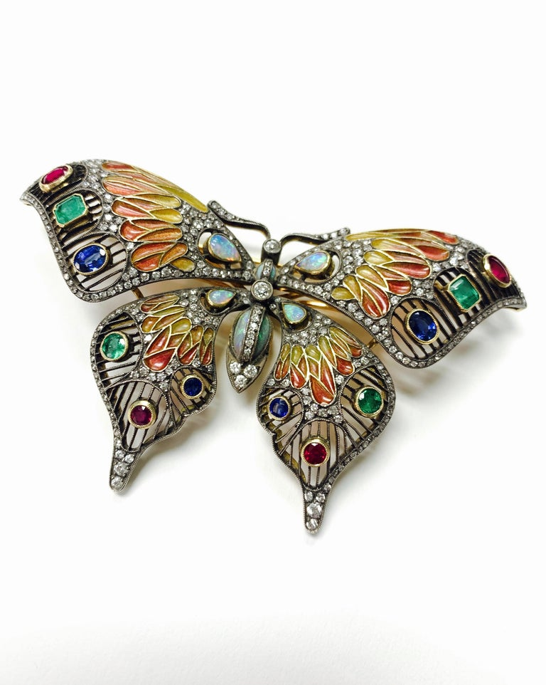 Diamond, Opal, Emerald, Blue Sapphire and Rubies Butterfly Brooch In Excellent Condition For Sale In New York, NY