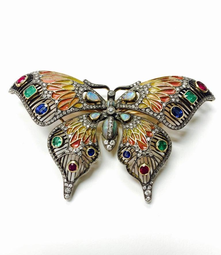 Women's Diamond, Opal, Emerald, Blue Sapphire and Rubies Butterfly Brooch For Sale