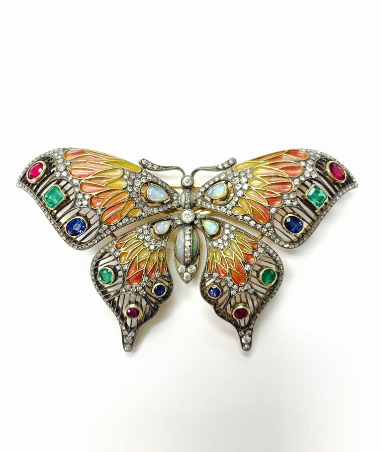 Diamond, Opal, Emerald, Blue Sapphire and Rubies Butterfly Brooch For Sale 1
