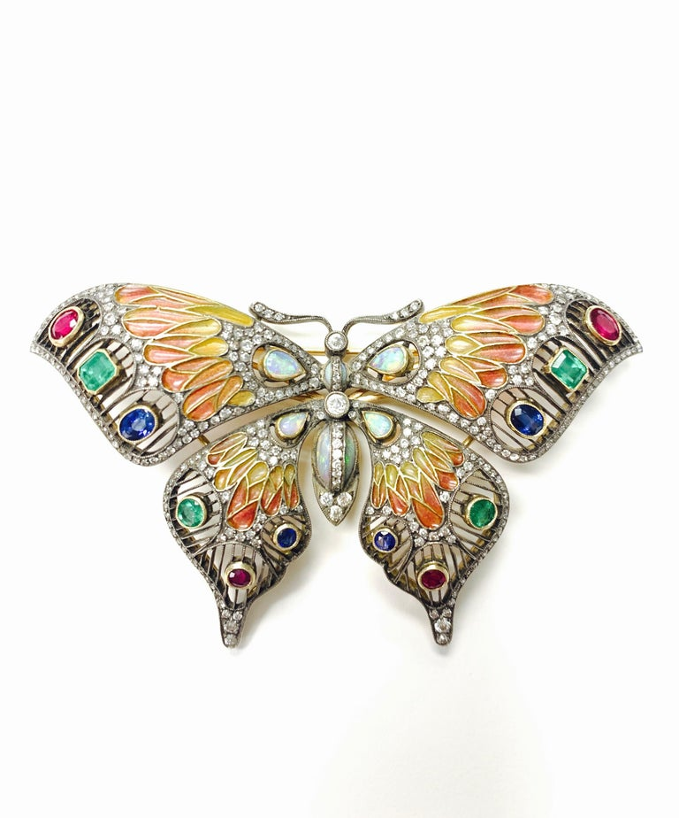 Diamond, Opal, Emerald, Blue Sapphire and Rubies Butterfly Brooch For Sale 3