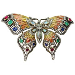 Diamond, Opal, Emerald, Blue Sapphire and Rubies Butterfly Brooch