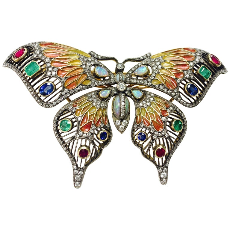 Diamond, Opal, Emerald, Blue Sapphire and Rubies Butterfly Brooch For Sale