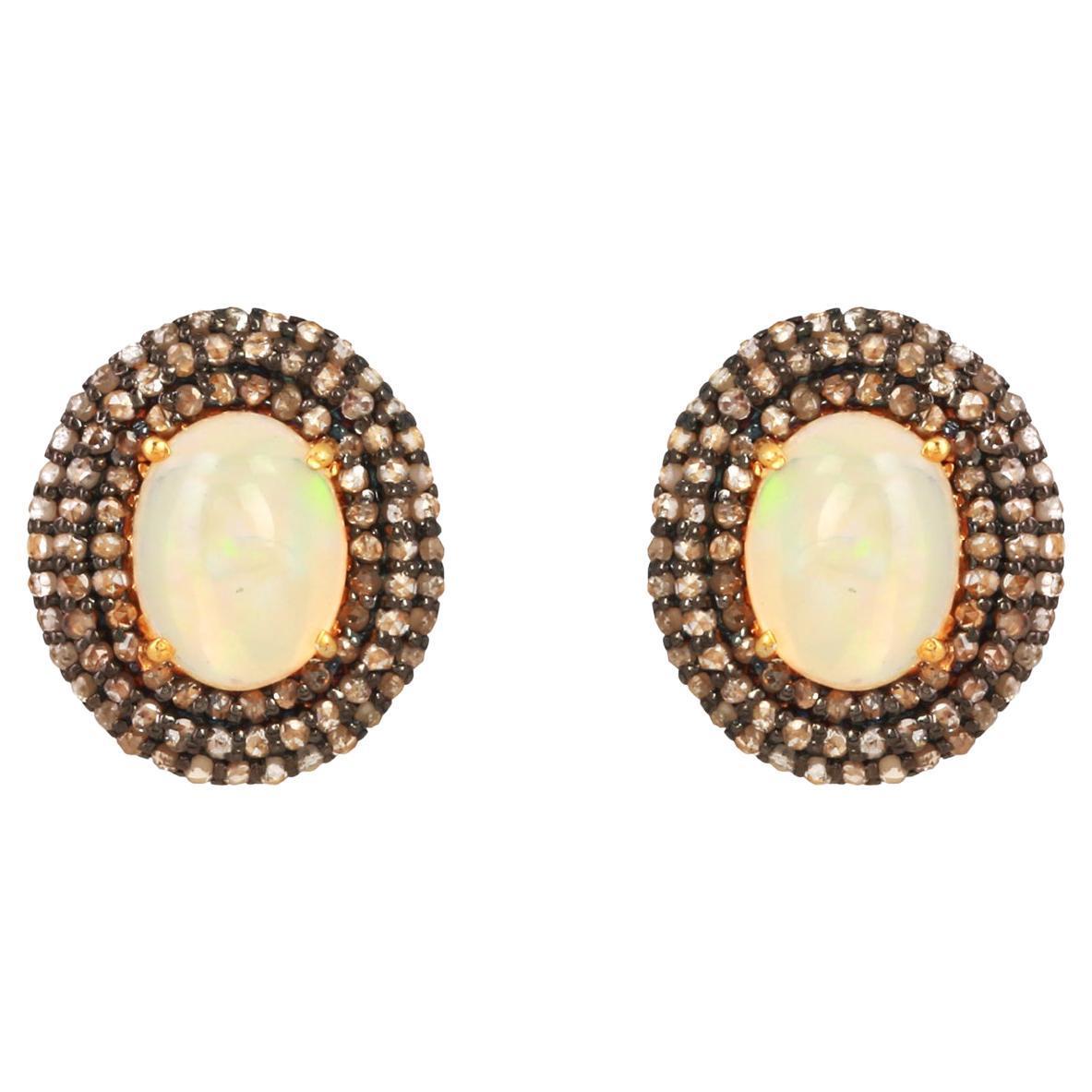 Diamond Opal Gold Silver Earring