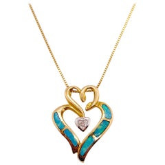 Diamond Opal Heart Necklace Triple Heart Love Pendant and Chain in 14 Karat Gold