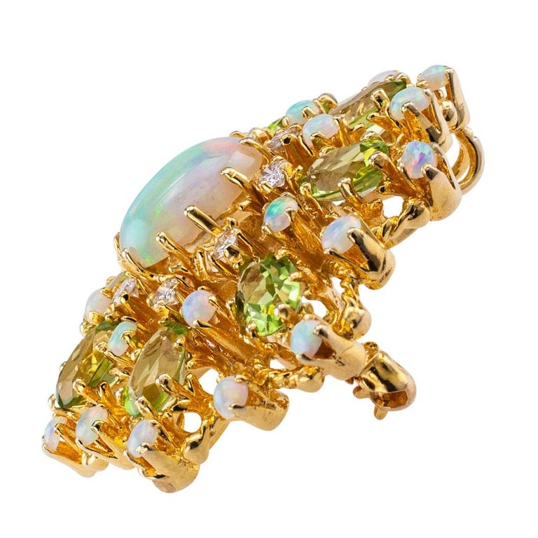 Modern Diamond Opal Peridot and Gold Brooch Pendant For Sale