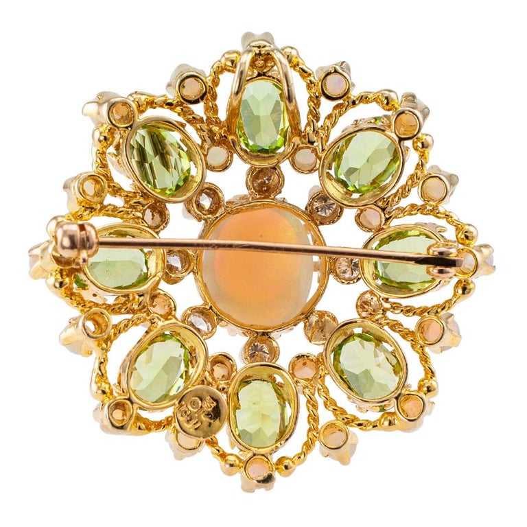 Diamond Opal Peridot and Gold Brooch Pendant In Good Condition For Sale In Los Angeles, CA