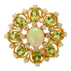Diamond Opal Peridot and Gold Brooch Pendant