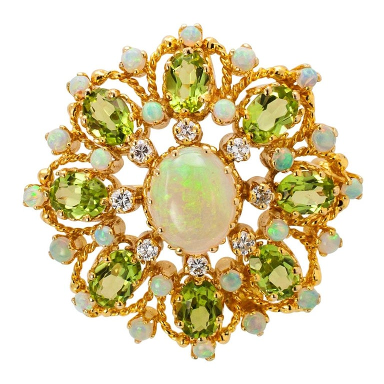 Diamond Opal Peridot and Gold Brooch Pendant For Sale