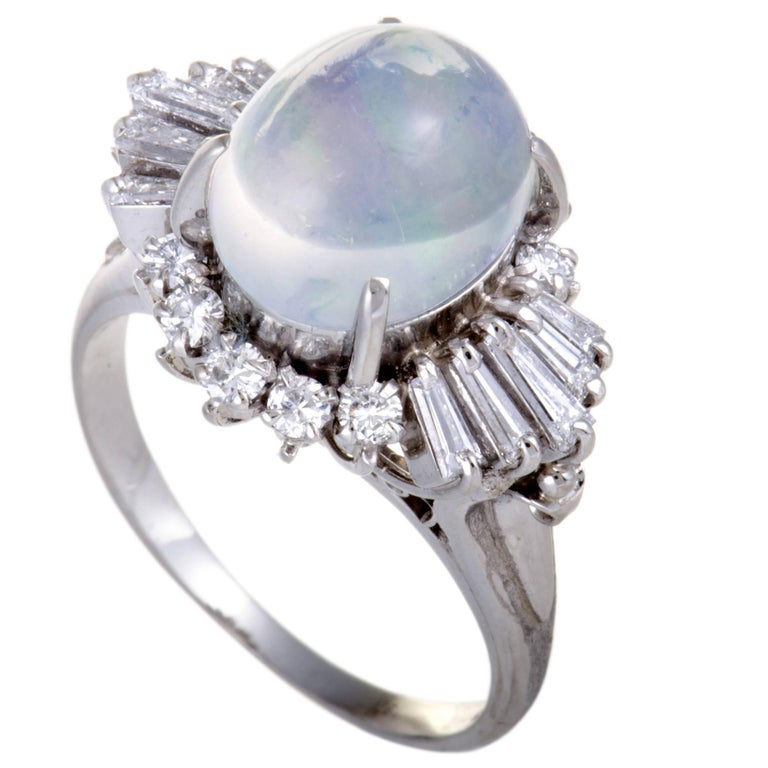 Diamond Opal Platinum Cabochon Ring
