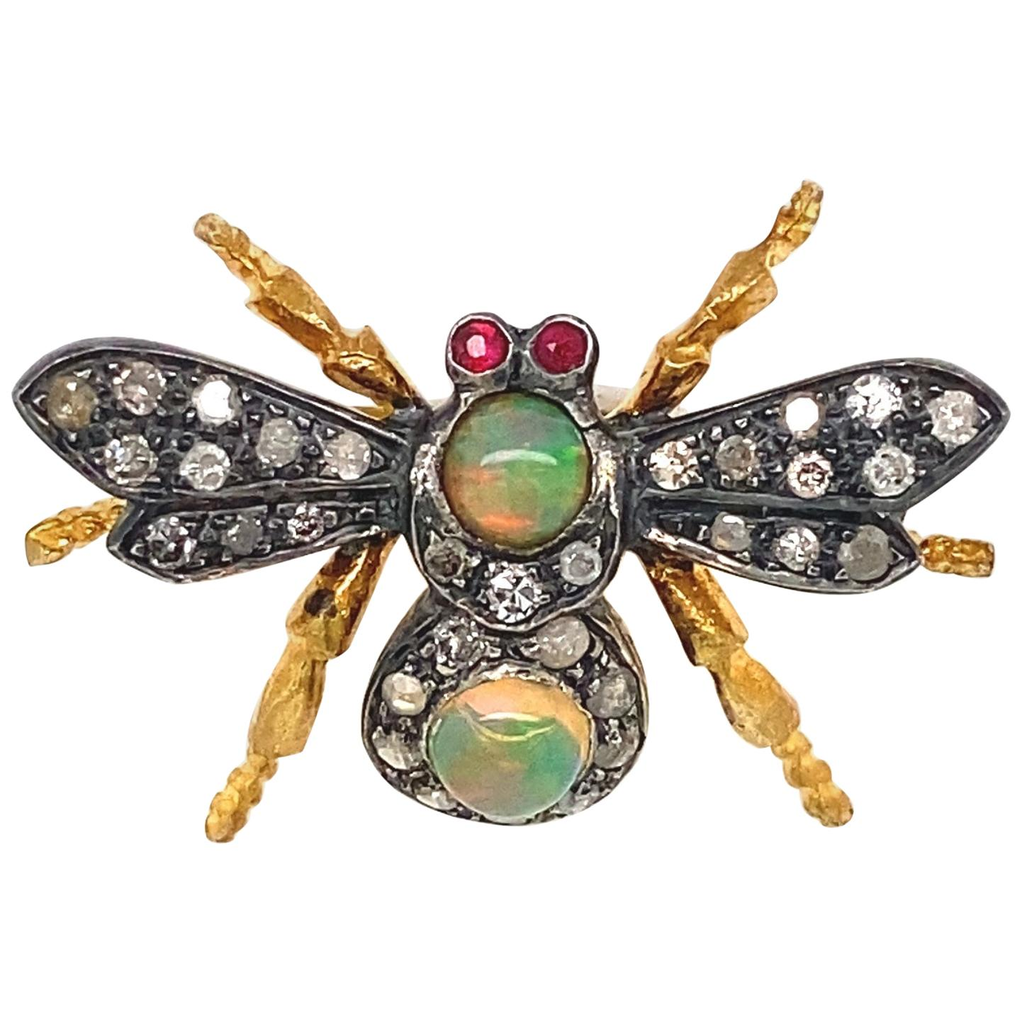 Diamond Opal Ruby Gold and Silver Fly Bee Brooch Pin Fine Estate Jewelry
