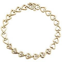 Diamond Open Heart Bracelet Vintage 14 Karat Yellow Gold Estate Fine Jewelry