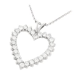 Diamond Open Heart Necklace 14 Karat/18 Karat, circa 1980s, American