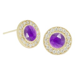 Diamond Orbit Amethyst 18 Karat Gold Stud Earrings
