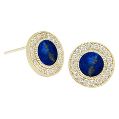 Diamond Orbit Lapis 18 Karat Gold Stud Earrings