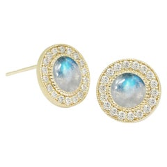 Diamond Orbit Moonstone 18 Karat Gold Stud Earrings