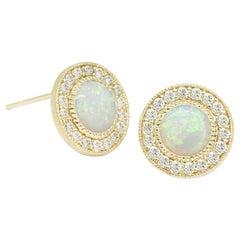 Diamond Orbit Opal White Stud Earrings
