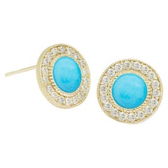 Diamond Orbit Sleeping Beauty Turquoise 18 Karat Gold Stud Earrings