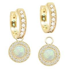 Diamond Orbit White Opal 18 Karat Gold Earrings