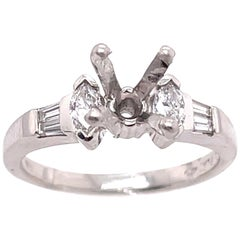 Diamond Oval and Baguette Side Detail Engagement Ring Setting in Platinum