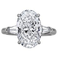 4.50 Carat Diamond Oval Cut Platinum Engagement Ring