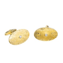 Diamond Oval Engraved Yellow White Gold Cufflinks