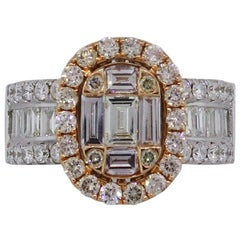 Diamond Oval Halo Mosaic Engagement Ring