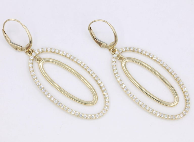 Diamond Oval Hoop Earrings, 1.10 Carat In New Condition For Sale In New York, NY
