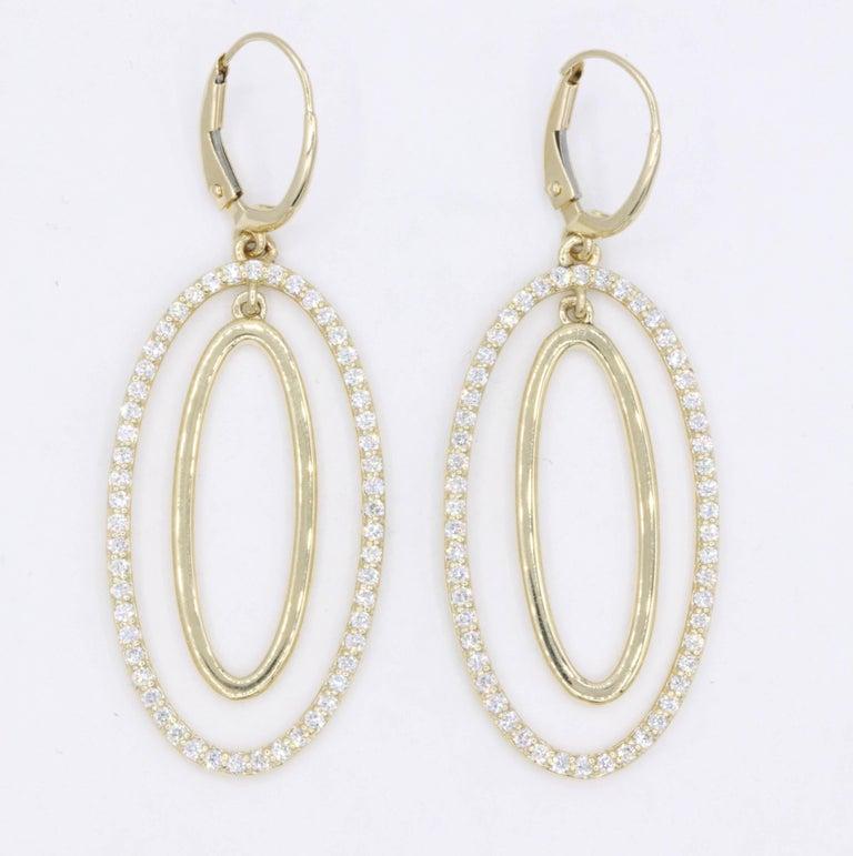Women's Diamond Oval Hoop Earrings, 1.10 Carat For Sale