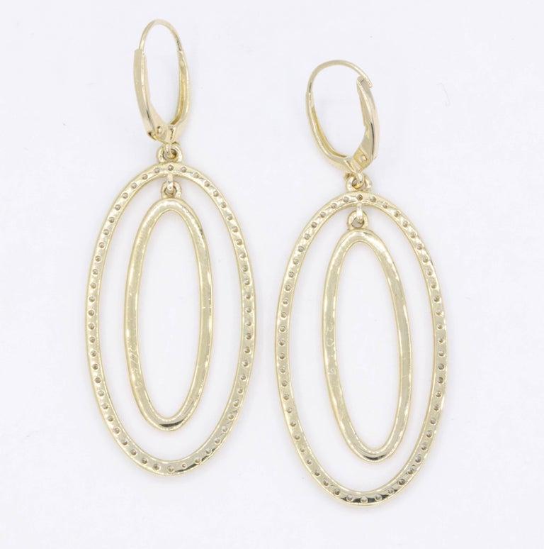 Diamond Oval Hoop Earrings, 1.10 Carat For Sale 1