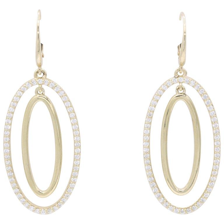 Diamond Oval Hoop Earrings, 1.10 Carat For Sale