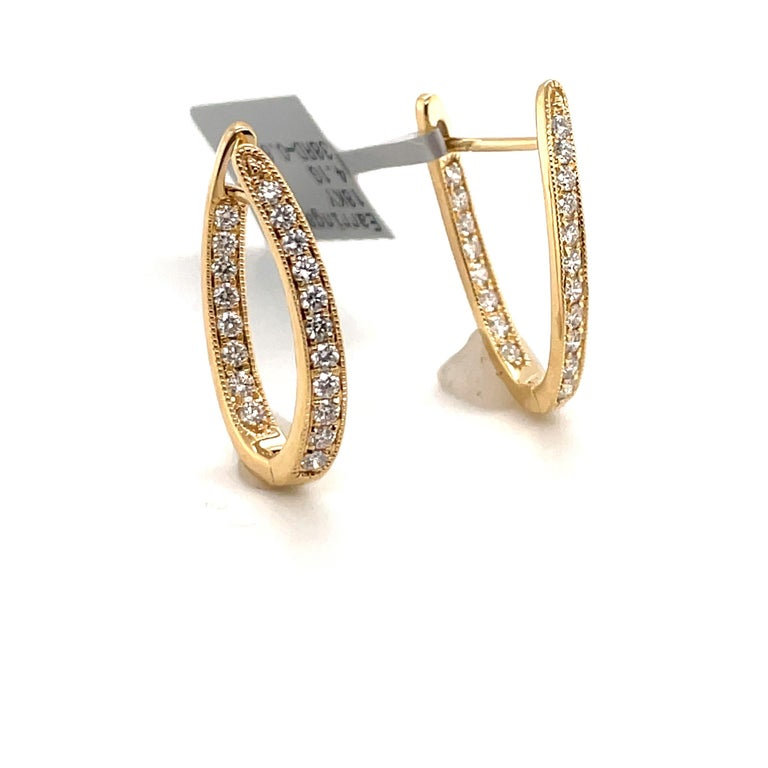 Contemporary HARBOR D. Diamond Oval Shape Twist Hoop Earrings 0.61 Carat 18 Karat Yellow Gold For Sale