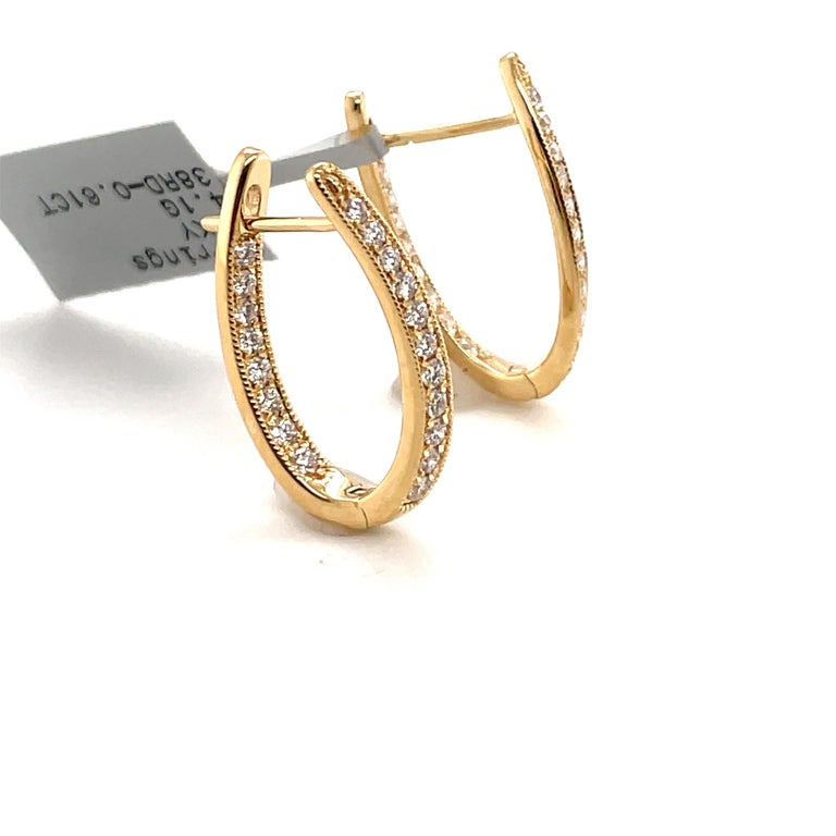 Round Cut HARBOR D. Diamond Oval Shape Twist Hoop Earrings 0.61 Carat 18 Karat Yellow Gold For Sale