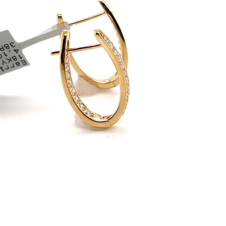 HARBOR D. Diamond Oval Shape Twist Hoop Earrings 0.61 Carat 18 Karat Yellow Gold In New Condition For Sale In New York, NY