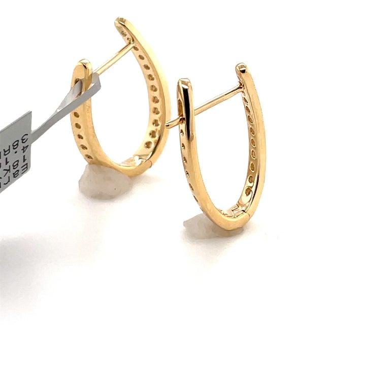 Women's HARBOR D. Diamond Oval Shape Twist Hoop Earrings 0.61 Carat 18 Karat Yellow Gold For Sale