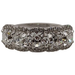 "Diamond ""Over the Top"" Cushion Ring in 18 Karat White Gold, Half Eternity Band"