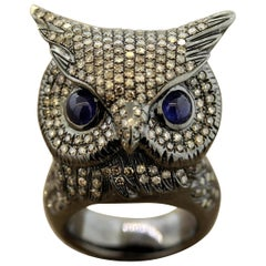 Diamond Owl Gold Life-Like Animal Ring