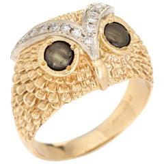 Diamond Owl Ring Vintage 14k Yellow Gold Cats Eye Chrysoberyl Eyes Fine Jewelry