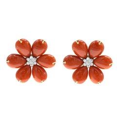 Diamond Oxblood Coral and 18 Karat Gold Earrings