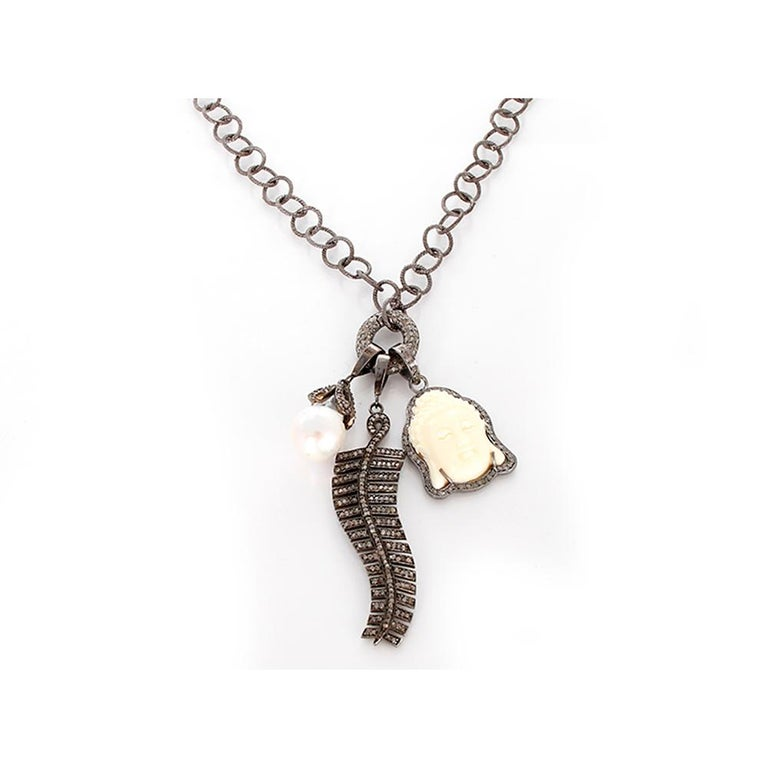 Diamond Oxen Bone Sterling Silver Buddha Necklace In New Condition For Sale In Dallas, TX