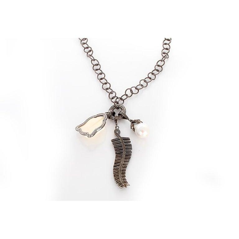 Women's Diamond Oxen Bone Sterling Silver Buddha Necklace For Sale