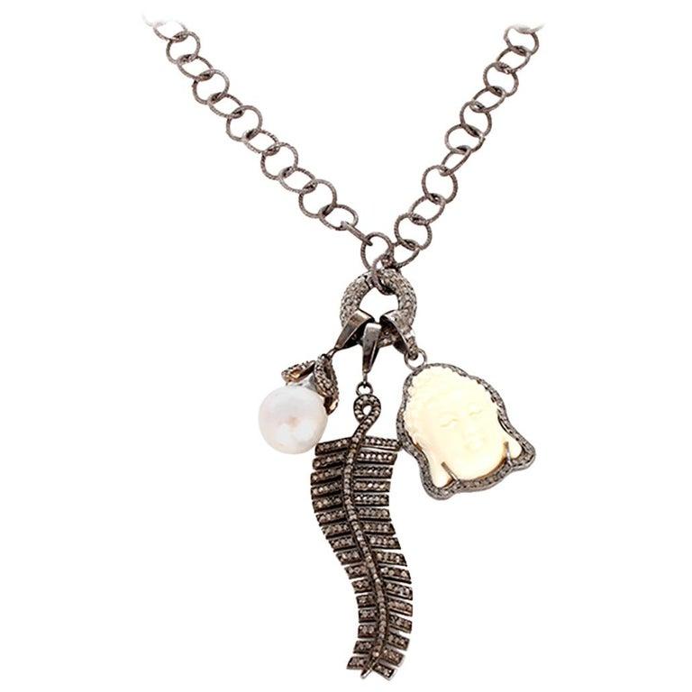 Diamond Oxen Bone Sterling Silver Buddha Necklace For Sale