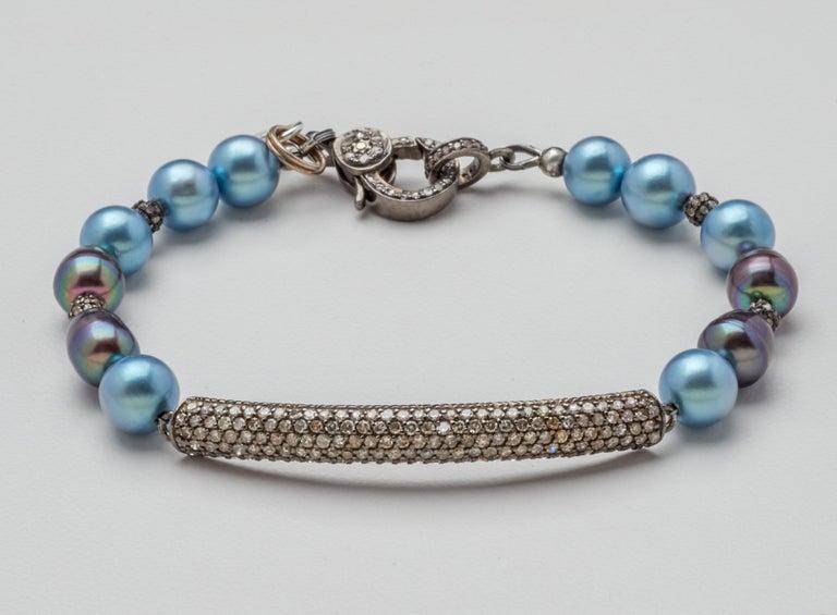 Artisan Diamond & Oxidized Sterling Silver Bar Bracelet with Blue Gray Akoya Pearls  For Sale