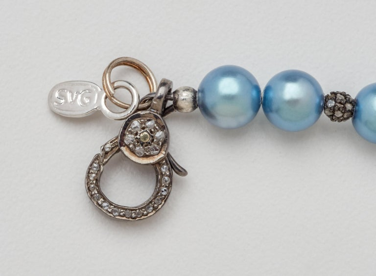 Diamond & Oxidized Sterling Silver Bar Bracelet with Blue-Gray Akoya Pearls  In New Condition For Sale In Mount Kisco, NY