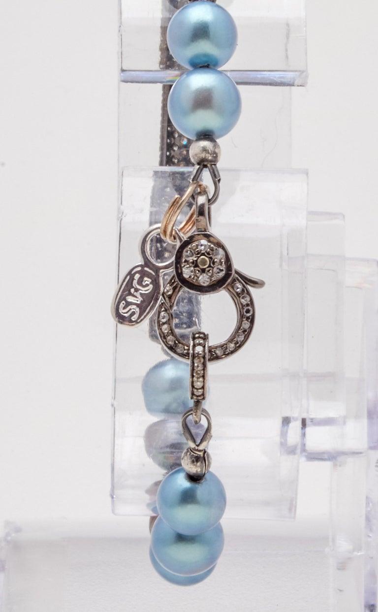 Women's Diamond & Oxidized Sterling Silver Bar Bracelet with Blue Gray Akoya Pearls  For Sale