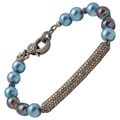 Diamond & Oxidized Sterling Silver Bar Bracelet with Blue-Gray Akoya Pearls