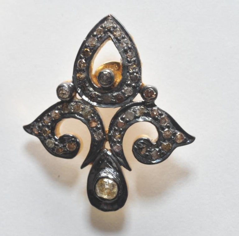 Diamond Oxidized Sterling Silver Fleur-de-Lis Earrings In Excellent Condition For Sale In Nantucket, MA