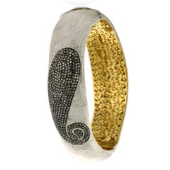 Diamond Paisley Motif Bangle in Gold and Silver