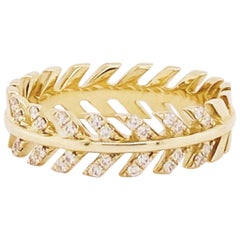 Diamond Palm Leaf Band 14 Karat Organic Ring, Palm Tree Ring in 14 Karat Gold