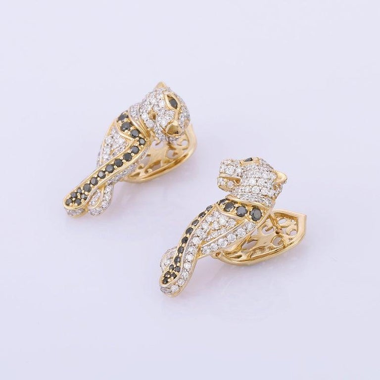 Contemporary Diamond Panther 14 Karat Gold Huggie Hoop Earrings For Sale