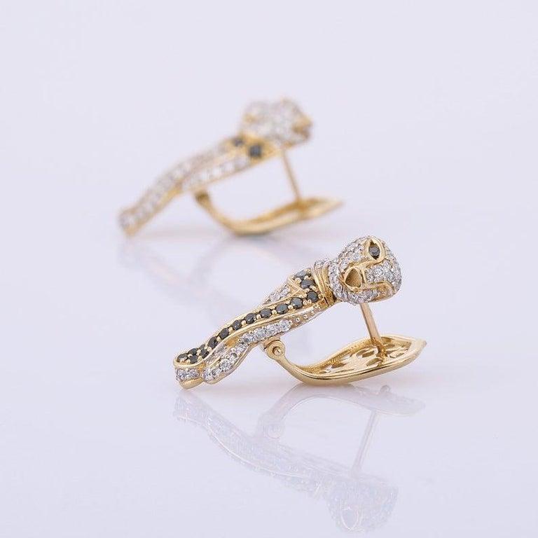 Mixed Cut Diamond Panther 14 Karat Gold Huggie Hoop Earrings For Sale